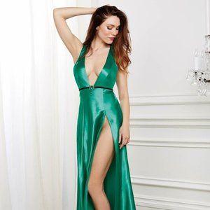 Dreamgirl Green Satin Jeweled Slit Gown DG10408